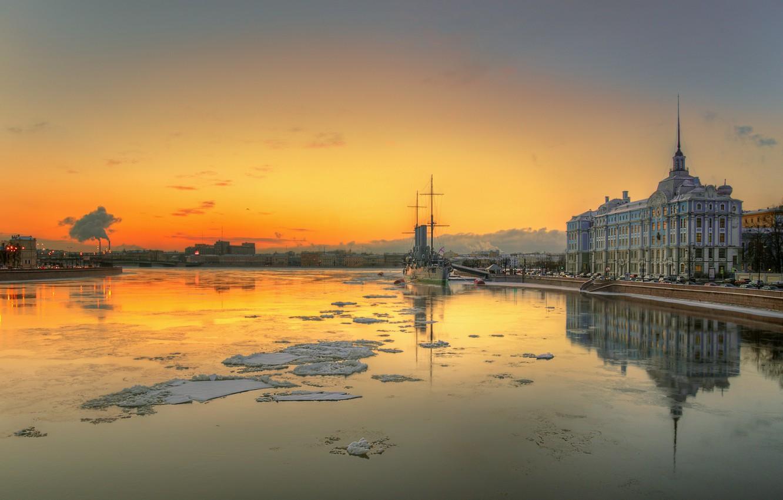 Photo wallpaper water, shore, ship, building, Aurora, promenade, Neva, St. Petersburg