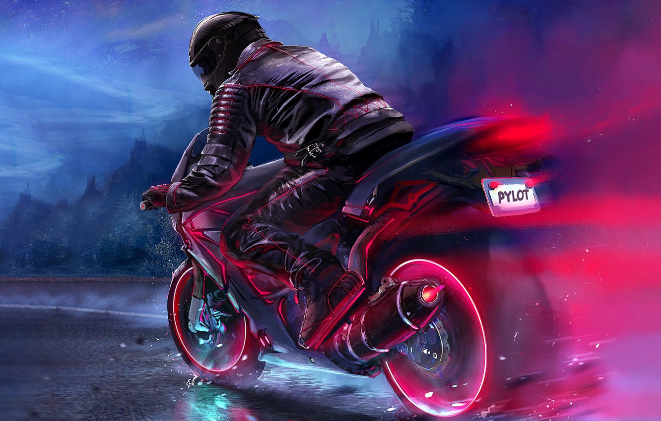 Photo wallpaper Road, Neon, Motorcycle, Moto, Art, Electronic, Biker, Synthpop, Darkwave, Synth, Retrowave, Synthwave, Synth pop, Pylot