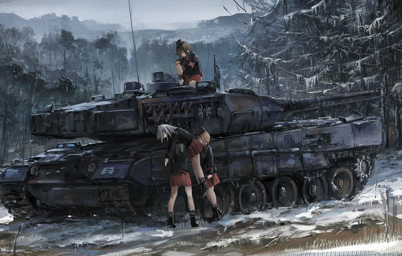 Photo wallpaper battlefield, girl, game, forest, blizzard, war, anime, snow, germany, asian, german, manga, tank, japanese, oriental, …