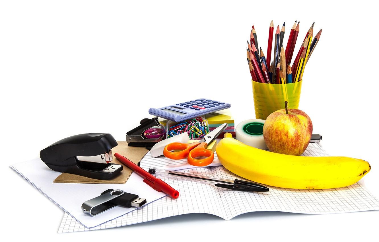 Photo wallpaper paper, Apple, pencils, white background, handle, fruit, banana, notebook, scissors, Scotch, USB flash drive, clip, …