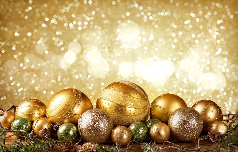 Photo wallpaper New Year, Christmas, golden, christmas, balls, merry christmas, decoration, xmas