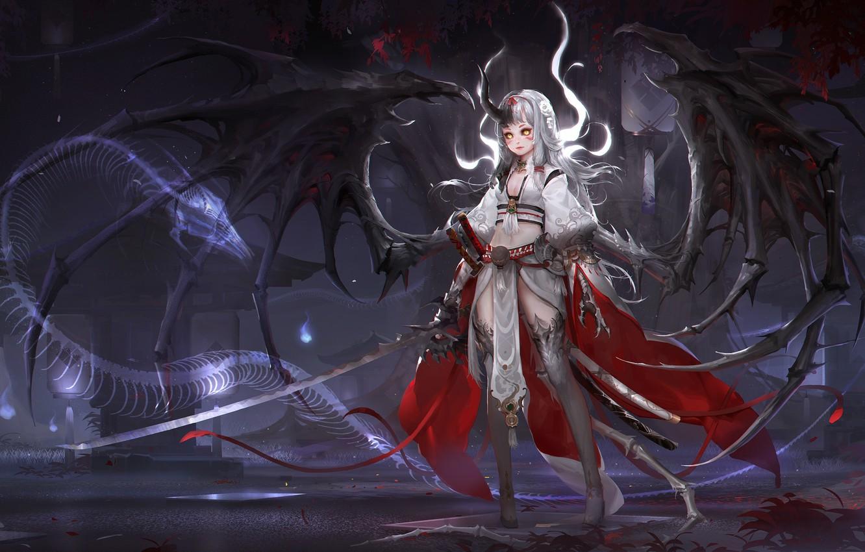 Photo wallpaper anime, warrior, fantasy, art