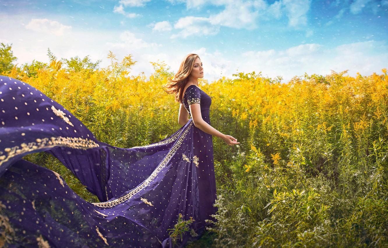 Photo wallpaper field, summer, girl, the wind, dress