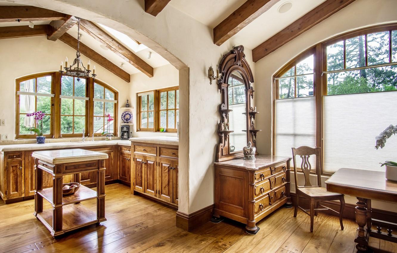 Photo wallpaper design, house, furniture, window, chest