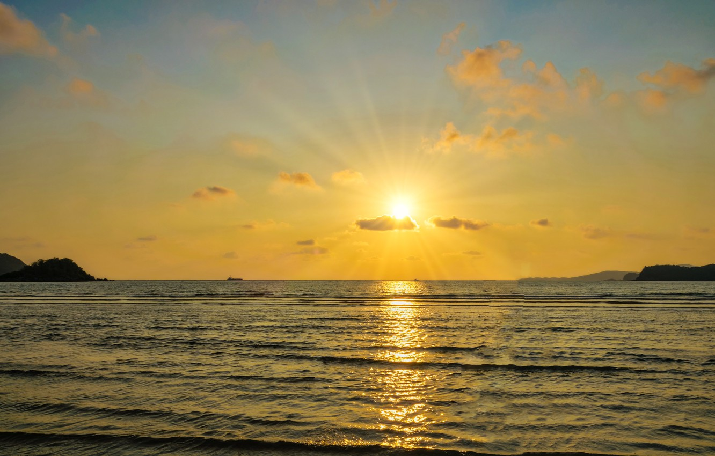 Photo wallpaper sea, beach, summer, the sky, sunset, summer, beach, sky, sea, sunset, seascape