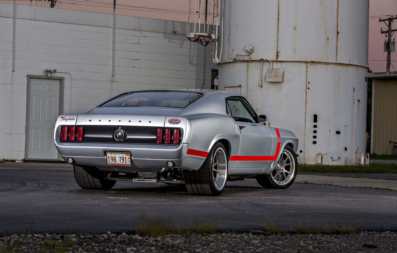 Photo wallpaper Mustang, Ford, Muscle, 1969, Silver