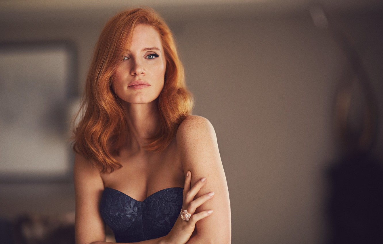 Photo wallpaper actress, red, photoshoot, Jessica Chastain, Jessica Chastain, 2017, Mike Rosenthal, American Way