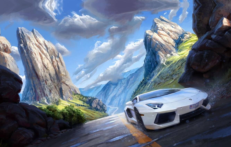 Photo wallpaper auto, landscape, mountains, art, Michal Kus, Lambo speeding