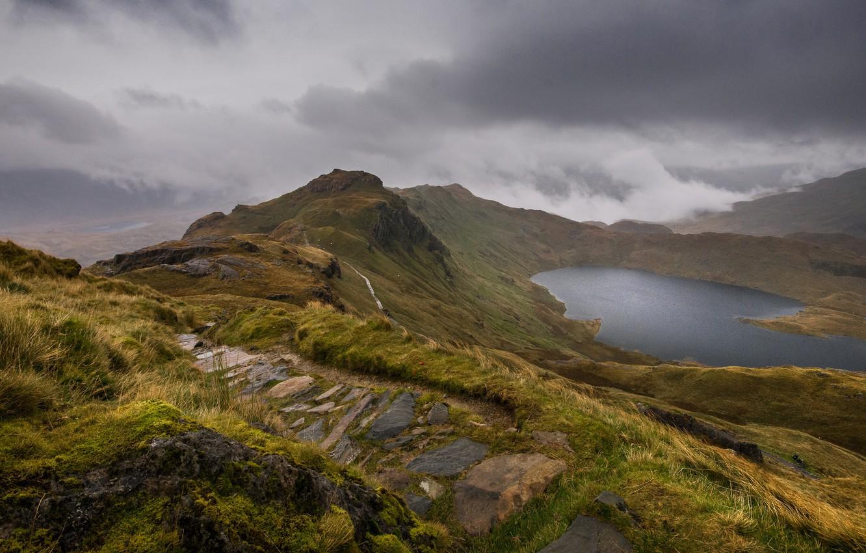 Photo wallpaper mountains, lake, Wales, Snowdonia