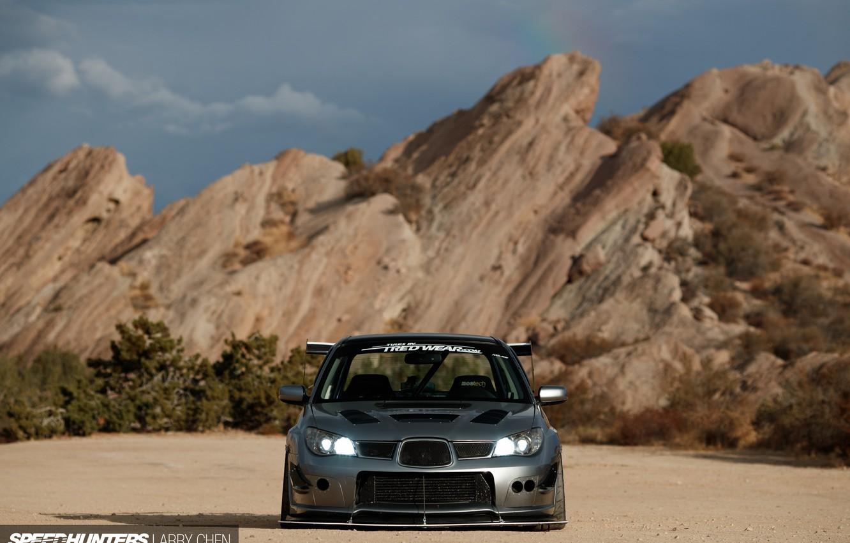 Photo wallpaper light, rocks, lights, Subaru, WRX, STI, view speedy