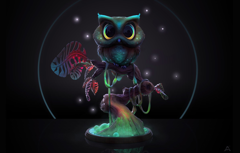 Photo wallpaper night, tree, owl, Midnight Owl, Ashley A. Adams