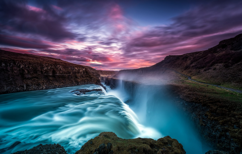 Wallpaper The Sky Water Clouds Sunset Rocks Waterfall Iceland Iceland Gullfoss Gullfoss Images For Desktop Section Pejzazhi Download