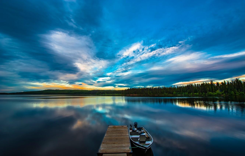 Photo wallpaper forest, sunset, lake, boat, pier, Canada, Canada, British Columbia, British Columbia, Beaver Lake, Lake Country, …