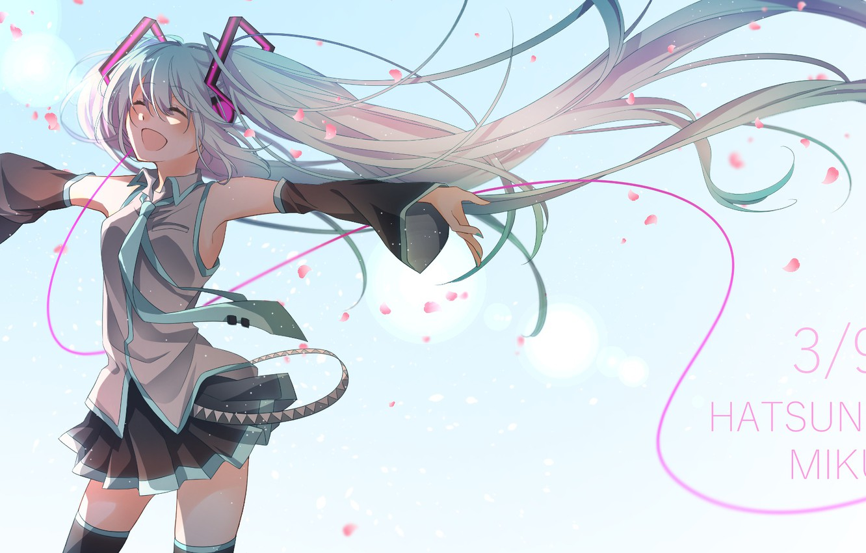 Photo wallpaper girl, background, hair, Vocaloid, Hatsune Miku