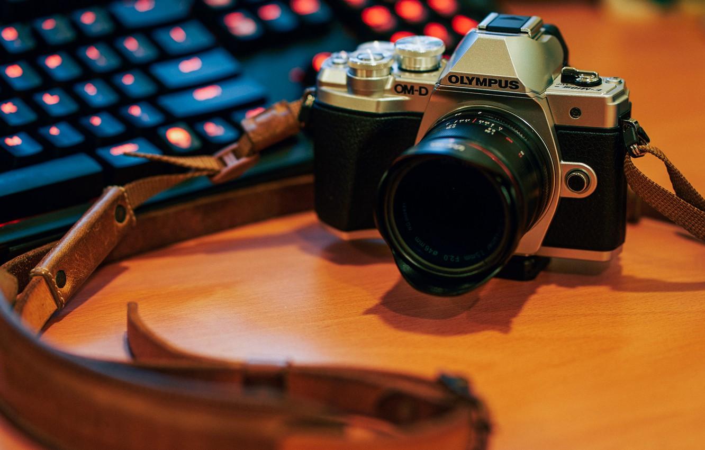 Photo wallpaper the camera, strap, Olympus