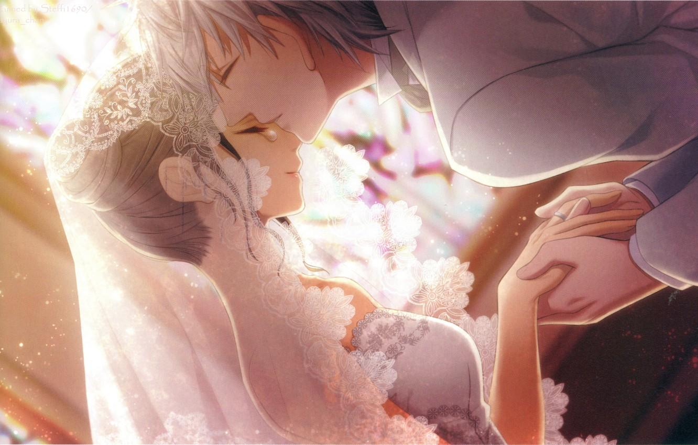Photo wallpaper light, kiss, hands, tear, veil, lace, art, wedding, visual novel, Bishop, the bride and groom, …