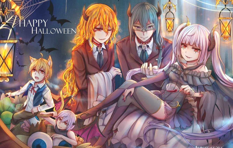 Photo wallpaper anime, art, costumes, Halloween