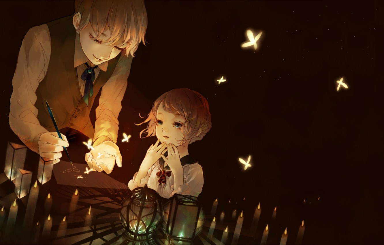 Photo wallpaper butterfly, magic, magic, glow, candles, boy, handle, girl, lanterns, in the dark