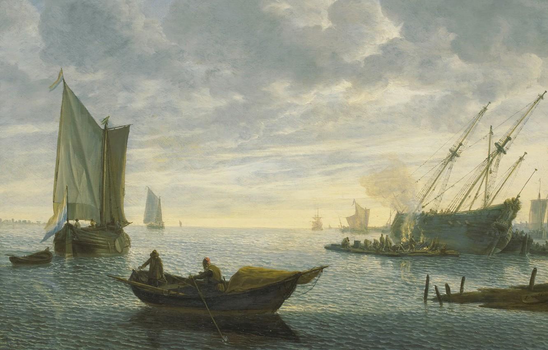 Photo wallpaper ship, picture, sail, Lieve Petersson Verschuer, Caulking Ship