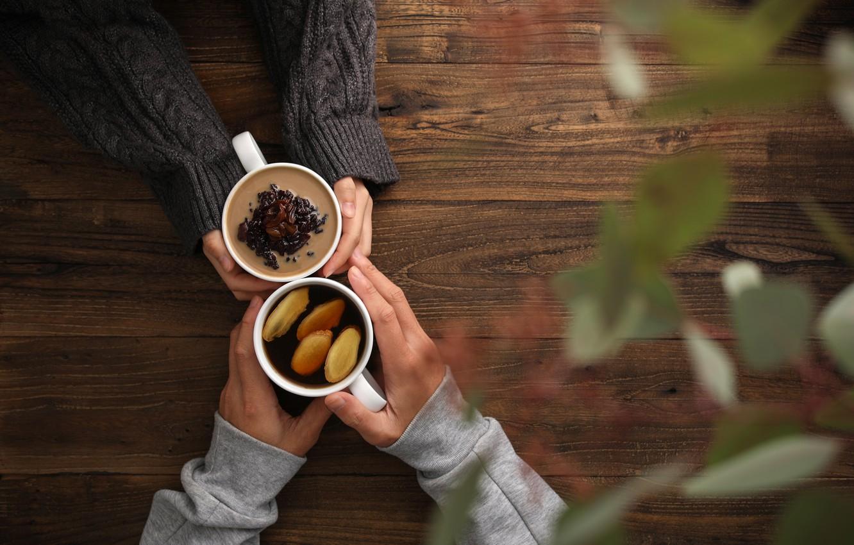 Photo wallpaper lemon, tea, hands, relationship, ginger