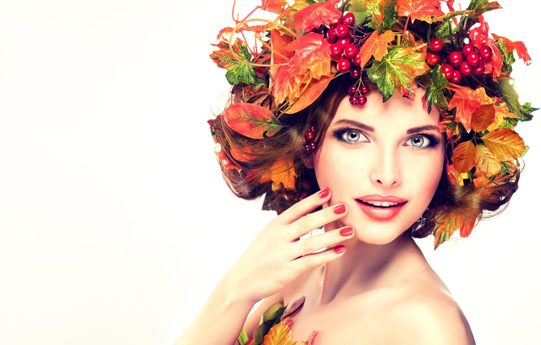 Photo wallpaper look, girl, face, model, hand, portrait, makeup, photoshoot, Kalina, autumn leaves