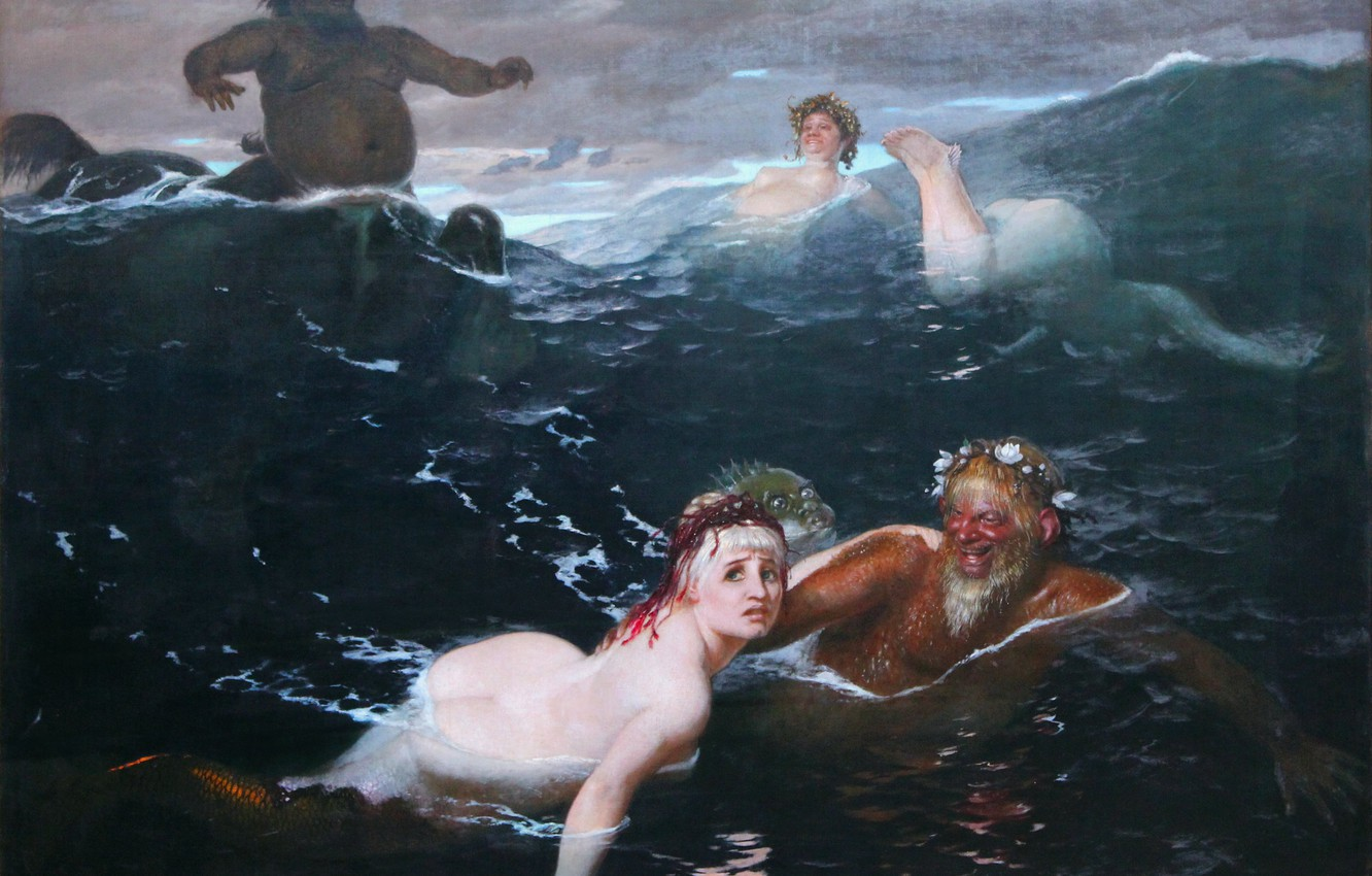 Photo wallpaper 1883, Arnold .. .. , men and women, The game of the Naiads