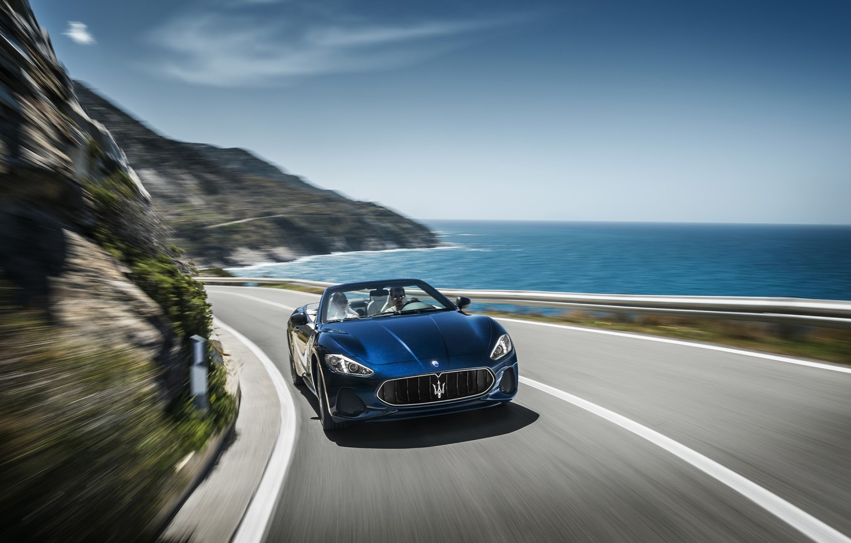 Photo wallpaper car, Maserati, girl, logo, sky, sea, woman, man, asphalt, Maserati GranCabrio