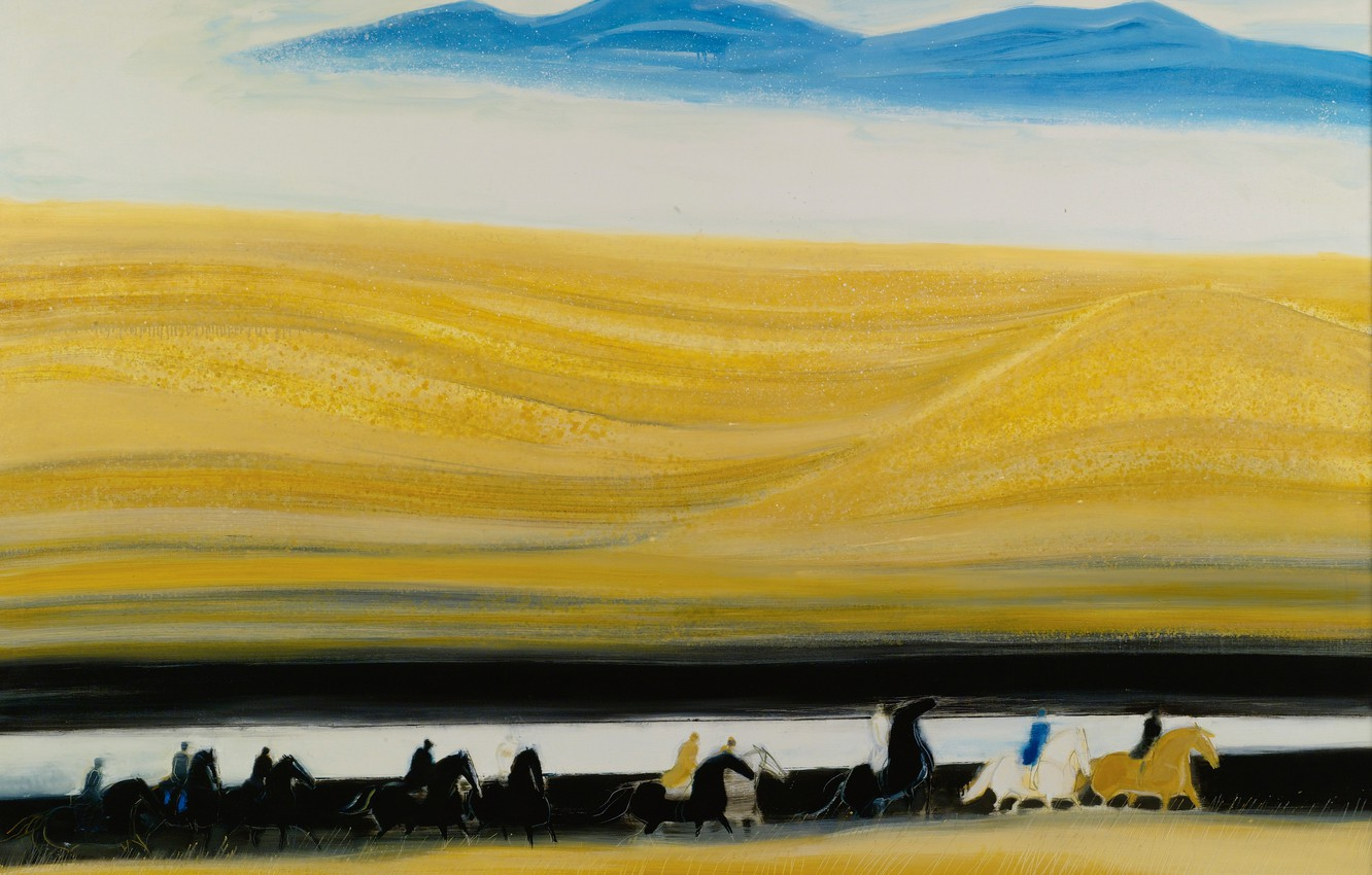 Photo wallpaper landscape, picture, horse, riders, Blue Mountains, Andre Brasilier