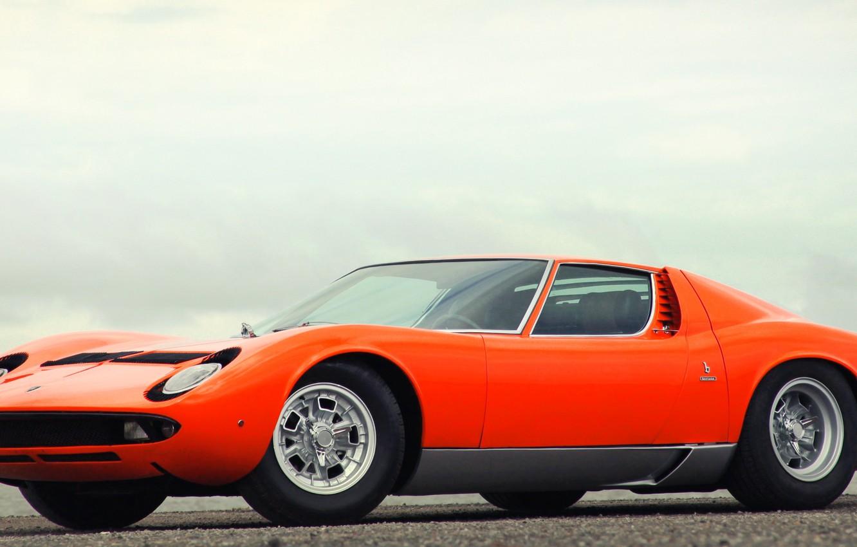 Wallpaper Auto Lamborghini Retro Machine Orange 1969 Lights