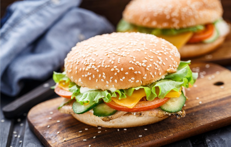Photo wallpaper vegetables, Patty, buns, burgers