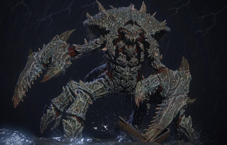 Photo wallpaper rendering, crab, monster, claw, Mr.Crabby 3D, Svein Yngve Sandvik Antonsen