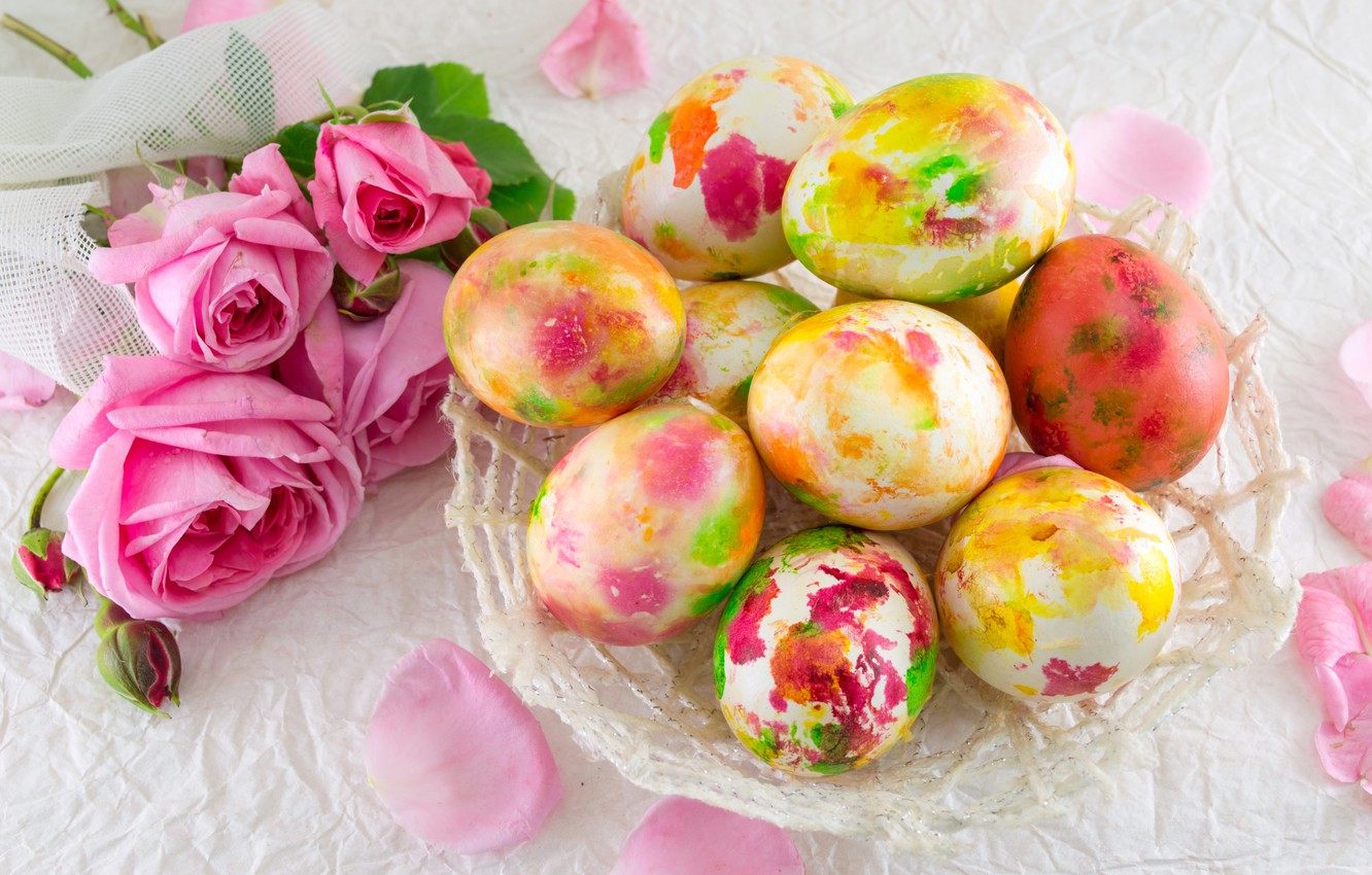Photo wallpaper flowers, roses, Easter, pink, flowers, spring, Easter, eggs, roses, decoration, Happy, the painted eggs