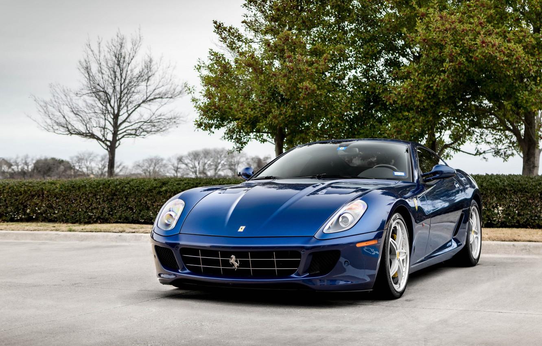 Photo wallpaper Ferrari, Blue, GTB, 599