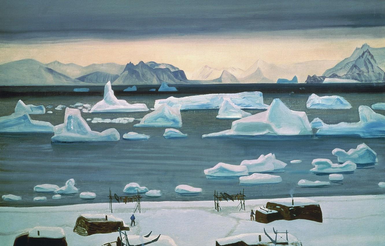 Photo wallpaper sea, landscape, mountains, picture, iceberg, Rockwell Kent, Rockwell Kent, November in Golandii