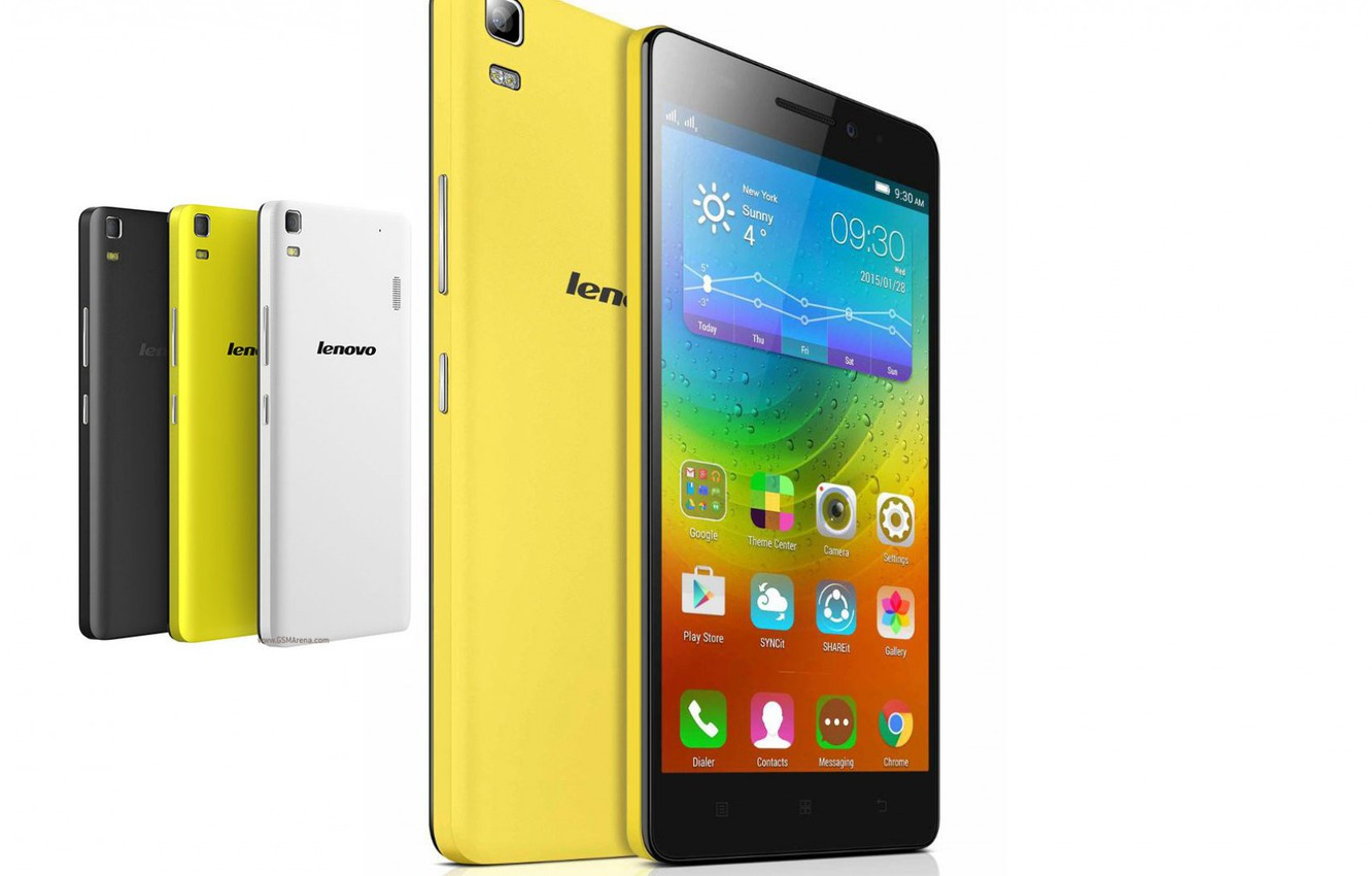 Photo wallpaper white, yellow, black, Lenovo, smartfoni