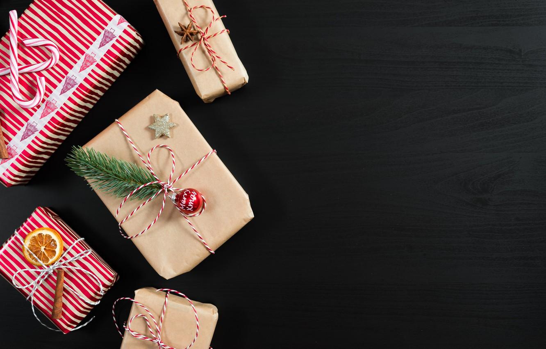 Photo wallpaper holiday, ball, branch, ball, gifts, lollipops, cinnamon