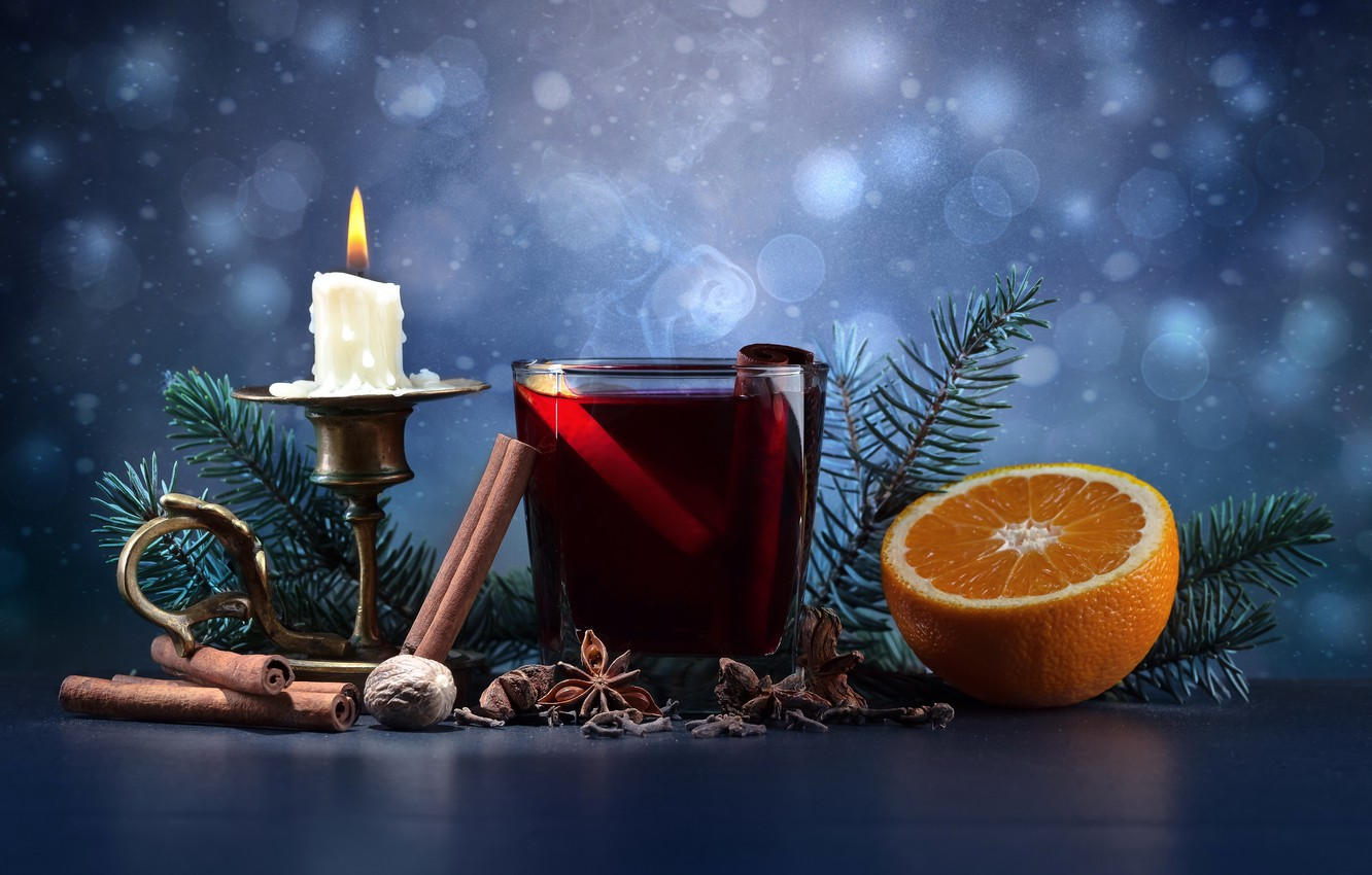 Photo wallpaper glass, holiday, orange, candles, New Year, drink, nuts, cinnamon, twigs of spruce