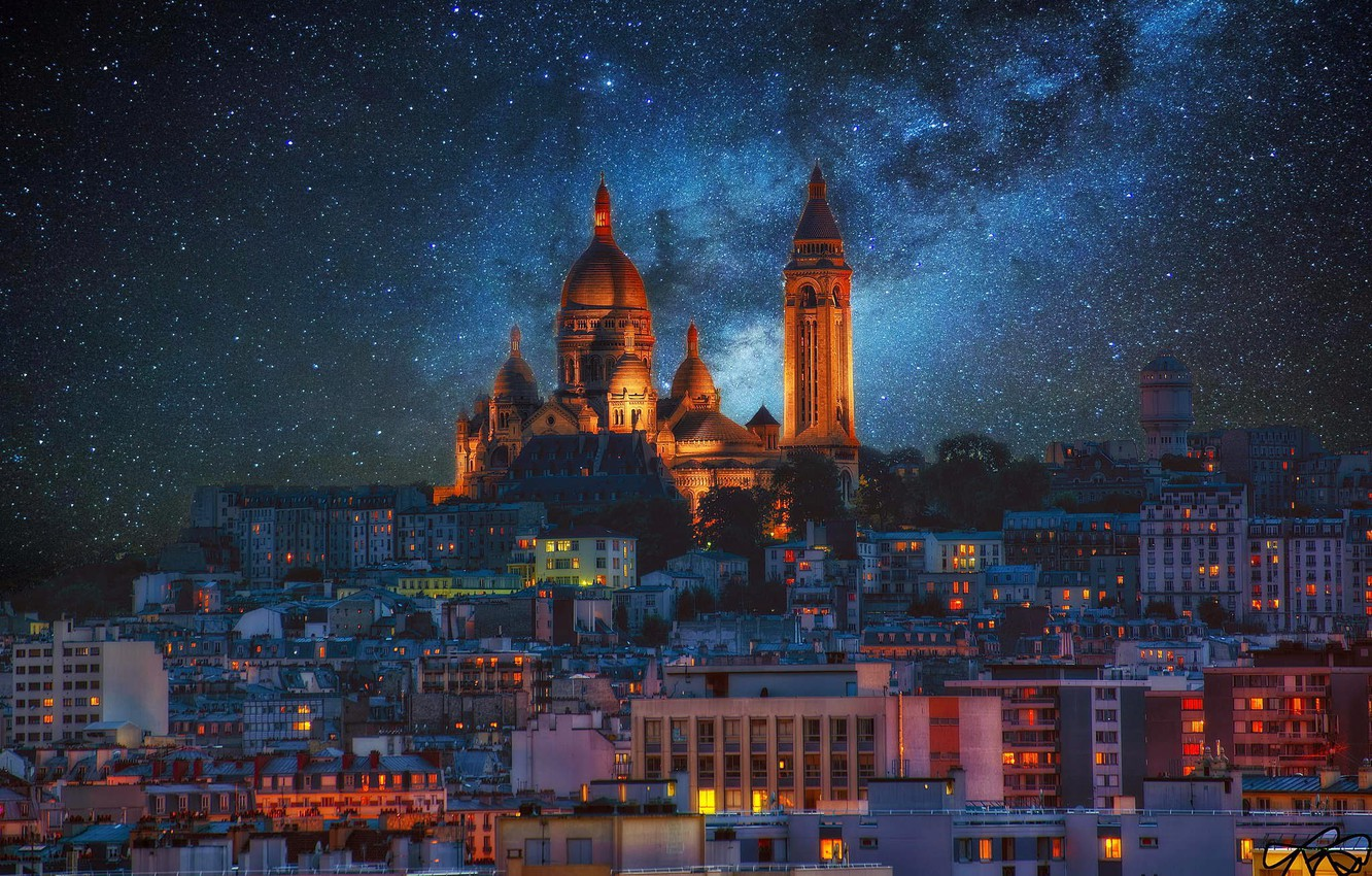 Photo wallpaper stars, night, lights, France, Paris, the milky way, Montmartre