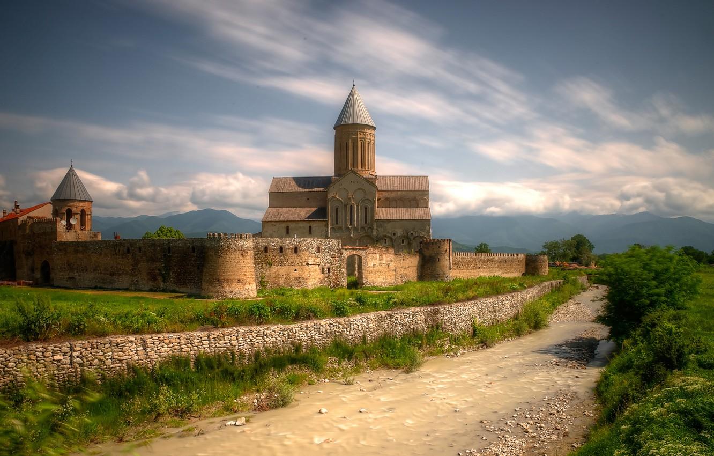 Photo wallpaper river, Church, Cathedral, Georgia, the monastery, Alaverdi Cathedral, Kakhetia, The Alaverdi Monastery