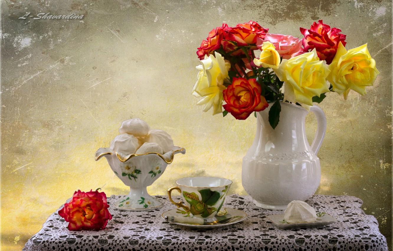 Photo wallpaper roses, marshmallows, lucet