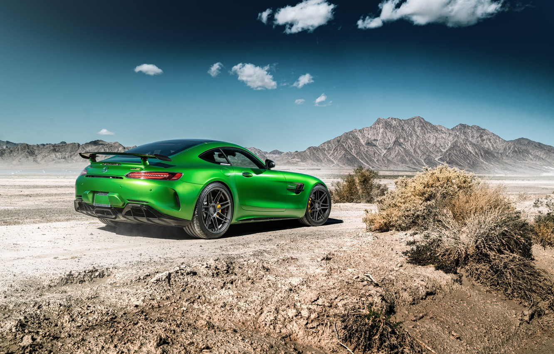 Photo wallpaper road, the sky, landscape, mountains, design, green, Mercedes GTR
