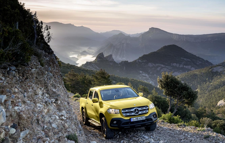 Photo wallpaper landscape, mountains, stones, yellow, open, vegetation, Mercedes-Benz, valley, pickup, breed, 2017, X-Class