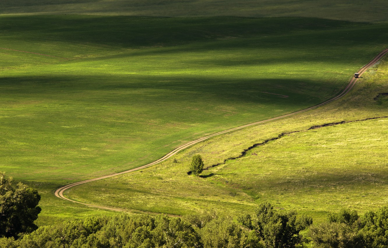 Photo wallpaper road, greens, field, valley, top, car