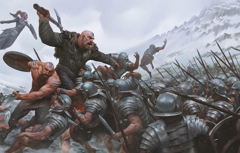 Photo wallpaper war, wolf, sword, art, spear, battle, armor, the Vikings, the Romans