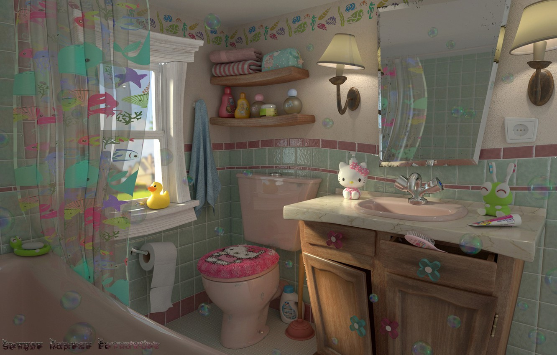 Photo wallpaper toys, interior, art, bathroom, kitty, children's, Retro kids bathroom, Sergio Raposo Fernández