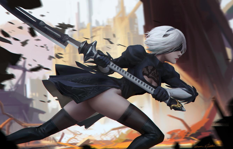 Photo wallpaper girl, weapons, stockings, anime, art, nier, yorha unit no. 2 type b, nier: automata, ichao …
