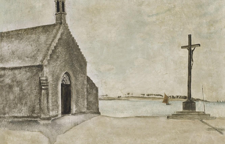 Photo wallpaper river, cross, 1920, Tsuguharu Foujita, The chapel Notre-Dame-du-Bon in Concarneau