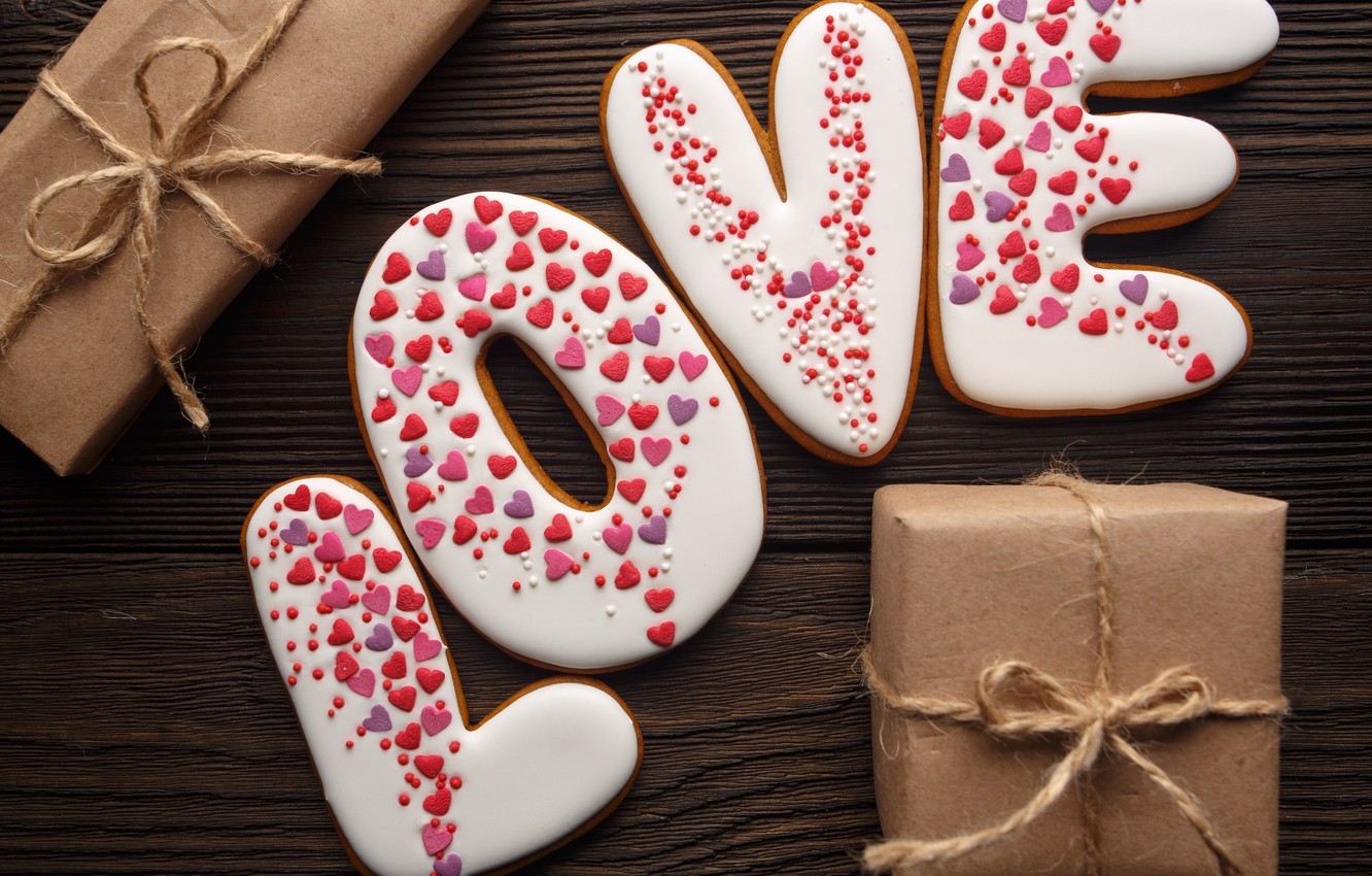 Photo wallpaper love, romance, gifts, hearts, red, love, romantic, hearts, Valentine's Day, gift, cookies