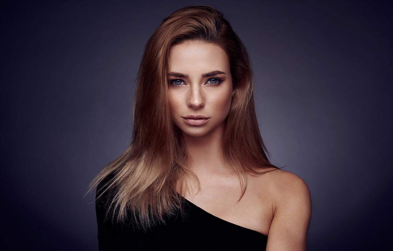 Photo wallpaper look, background, model, portrait, makeup, hairstyle, brown hair, beauty, in black