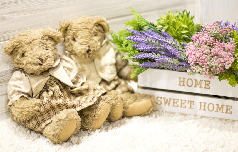 Photo wallpaper love, flowers, toy, bouquet, bear, pair, love, bear, wood, flowers, romantic, couple, sweet, teddy, home